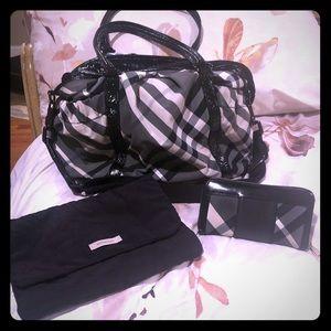 AUTHENTIC Burberry Nova Black Diaper Bag w/ Wallet